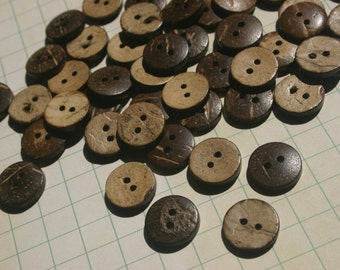 "Wood Buttons - Coconut Wooden Sewing Button - Two Holes - 5/8"" Wide"