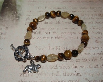 Sun Bear - Citrine and Tigers Eye Gemstone Bear Charm Toggle Clasp Bracelet