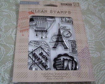 Away  - Travel Themed Unmounted poly clear Cling rubber stamps from Hero Arts - 6 pieces