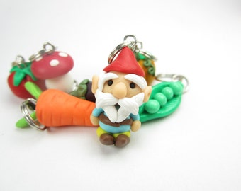 Garden Gnome and Vegetable Stitch Markers, knitting accessories knit, charms, carrots, peapod, tomato, mushroom, pumpkin, eggplant gift cute