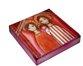 Holy Family  - Giclee print mounted on Wood (4 x 4 inches) Folk Art  by FLOR LARIOS