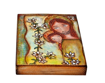 Saint Joseph with Child - Giclee print mounted on Wood (5 x 7 inches) Folk Art  by FLOR LARIOS