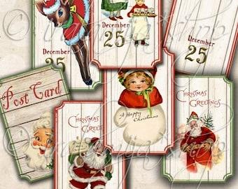 BRIGHT CHRISTMAS TIcKETS Collage Digital Images -printable download file Digital Collage Sheet Vintage Paper Scrapbook