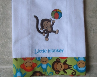 Personalized embroidered baby burp cloth - monkey