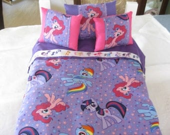 """Cute 5 Piece American Girl Inspired 18"""" Doll Bedding My Little Pony 3 Pillows Bedspread Top Sheet"""