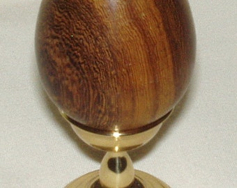 Wooden Egg, Laos Pheasant Wood w Brass Stand