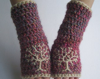 Tree Arm Warmers Tree Fingerless Gloves Tree of Life Tree Gloves PInk Gloves Womens Gloves Armwarmers Warm Chunky Armwarmers - MADE TO ORDER