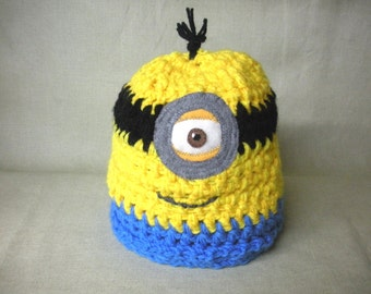 FREE SHIPPING yellow, black and blue MINION crochet beanie hat for adult, teen 20 inches - by BearlyArtDesigns