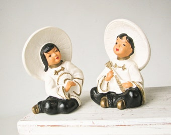 Asian Figurines - Mid Century Modern - Boy Girl - Black White
