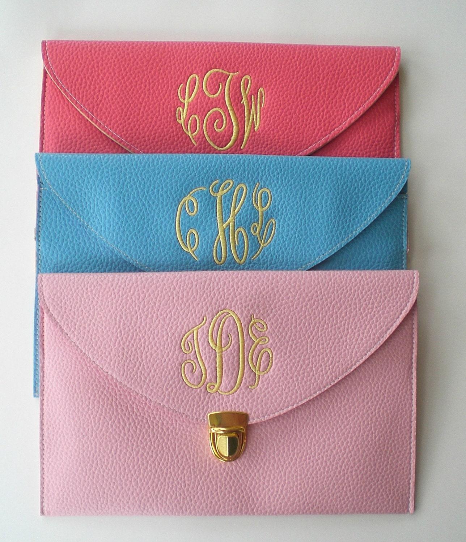 monogram clutch purse custom embroidery wedding by bloomingdeals