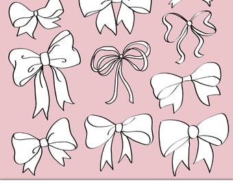 Lots of Bows Digital Clipart, Photoshop Brushes & Stamps. Download. Printable. Personal and Limited Commercial Use.