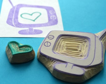 retro tv hand carved rubber stamp, handmade rubber stamps