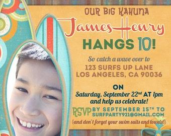 Surfs Up Hawaiian Big Kahuna Invitation DIY Printable OR Printed Card