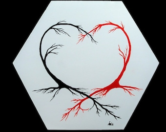 Heart Trees -Arteries Of Love - original hexagon shape stretched canvas modern contemporary surreal oil painting white black red visionary