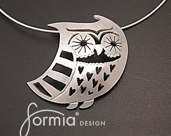 Fable Collection: whimsical owl pendant handmade in sterling silver