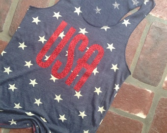 USA Tank Top //Stars Tank Top // American Flag Clothing Red Glitter USA Tank Top Stars and Stripes