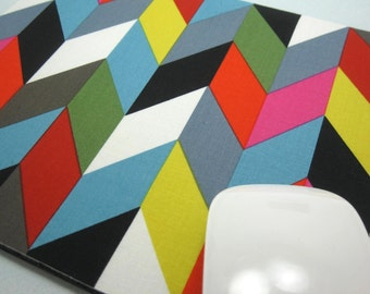 Buy 2 FREE SHIPPING Special!!   Mouse Pad, Fabric Mousepad   Ziggy Chevron Multi