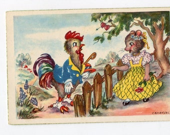 Rooster, mouse vintage postcard, dressed animals chicken and mouse flirting over the fence, Spanish vintage postcard, artist signed