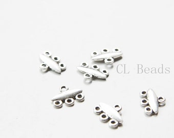40pcs Oxidized Silver Tone Base Metal 3 to 1 component or earring findings - 12x9mm (21484Y-C-408)