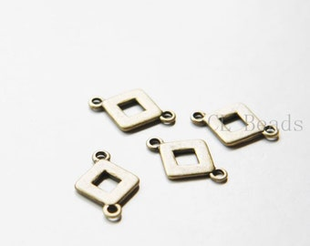 24pcs Antique Brass Tone Base Metal Links - Square 21x14mm (6107Y-O-288)