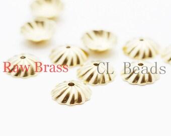 120 Pieces Raw Brass Bead Caps - 7.5mm (1866C-U-25)