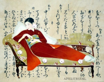 COLLAGE ARTWORK. Oriental Lady On a Divan. Recycled Art using a 1937 Japanese Print/Calligraphy