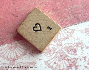 Heart Vintage Blank Scrabble Tile .. Customize your own letter and value .. Hand stamped, inked .. Awesome wedding gift .. engraved keepsake