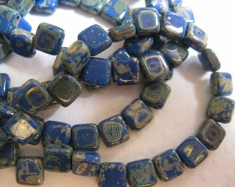 Czech 2 Hole, 6mm Tile Beads, one string of 25 beads - Cobalt Picasso