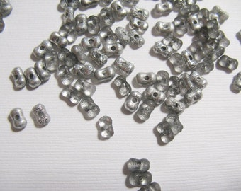 New Czech Farfalle Peanut Beads, 3x6mm  Crystal/Silver Etched - approx. 10 grams