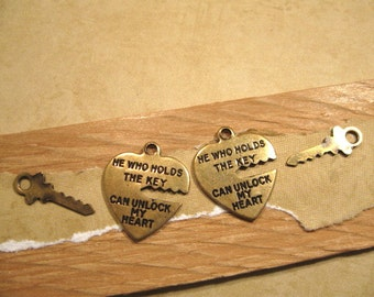 Key to My Heart Charms from Trinity Brass in Antique Gold - 2 Count