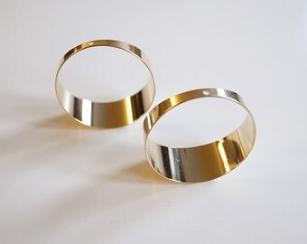 6 medium size cut raw brass tube cylinder hoop 32x13mm 1 hole on top plated in gold tone
