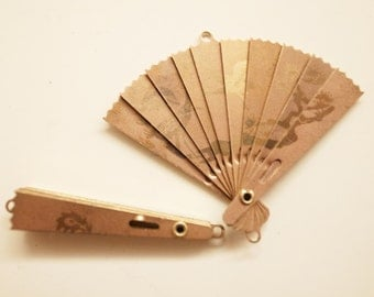 6 pcs of vintage brass folding fan charm rare bird phoenix different engraving on both sides hinge 40 x 50mm open large size