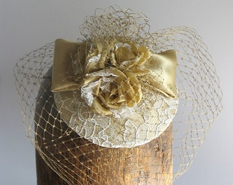 Gold lace mother of the bride hat - silk lace bridal hat - gold and ivory wedding hat