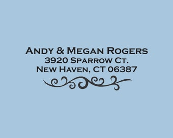 Andy and Megan Rogers Custom Self-Inking Return Address Stamp Design 200-036