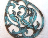drop pendant, large chunky altered VERDIGRIS teal copper scroll filigree 2 pcs