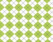 One (1) Yard - Argyle Remix Print by Robert Kaufman Fabrics AAK-10392-50 Lime Green