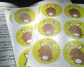 Wild Bunny Stickers - 1.5 inch round envelope seals 1 design (set of 30)