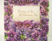 Vintage Valentine Card Purple Pansies 1954