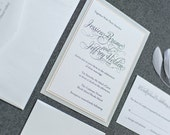 Shimmery Silver and Blush Pink Formal Wedding Invitation - Romantic, Simple, Traditional - Custom Invitations - Jessica & Jeffrey