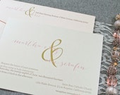 Blush Pink Invitation, Gold Wedding Invitation - Ampersand Wedding Invite, Simple Invitation, Shimmery Invitation- Martha and Eric