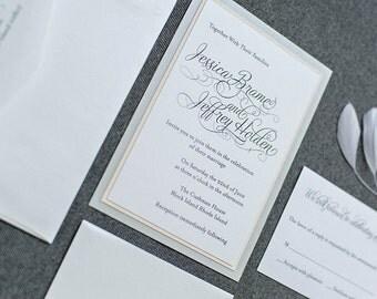 Shimmery Silver and Blush Pink Formal Wedding Invitation - Romantic, Simple, Traditional - Custom Invitations - Jessica & Jeffrey