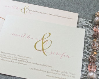 Blush Pink Invitation, Gold Wedding Invitation - Ampersand Wedding Invite, Simple Invitation, Shimmery Invitation- Martha and Eric