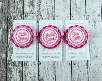 Little, Middle, Big Sister Hair Clips - Hot Pink and White - matching felt hair clips - baby shower, new baby gift - sisters hair clips set