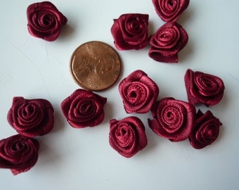 RIBBON FLOWERS , Burgundy Roses  , 12 pieces / 574