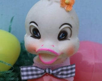 Vintage Rubber Head Adorable Chick/Duck Ornament, Easter, Pink, One
