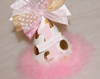 Gold and Pink Polka Dot Birthday Party Hat - Princess, Glam, Winter Wonderland, Frozen, Fairy Party