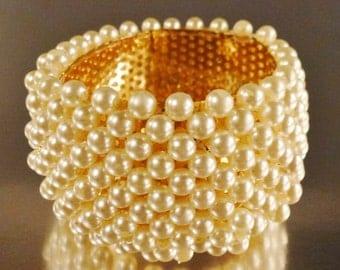 Stunning WEDDING Bracelet Faux Pearls wide hinged cuff 3 in Diam app 2 in wide plastic pearls
