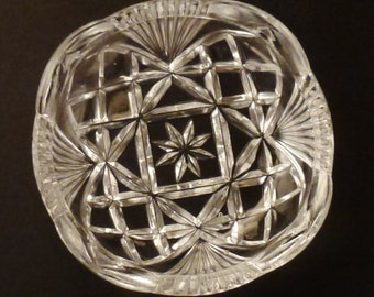 Antique Glass CRYSTAL Toothpick holder  Serrated efges Rows Clear beveled base 1 3/4  in diam x  1 7/8 in tall diamonds