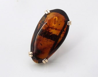 Natural Baltic amber ring with sterling silver and 9ct yellow gold (gold and sterling ring)