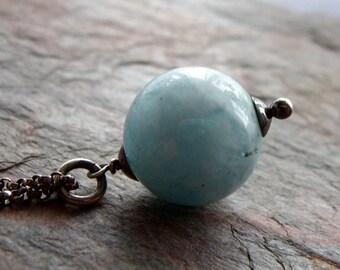 Aquamarine Ball Sterling Silver Necklace - March Birthstone - March Birthstone Jewelry - Aquamarine Necklace